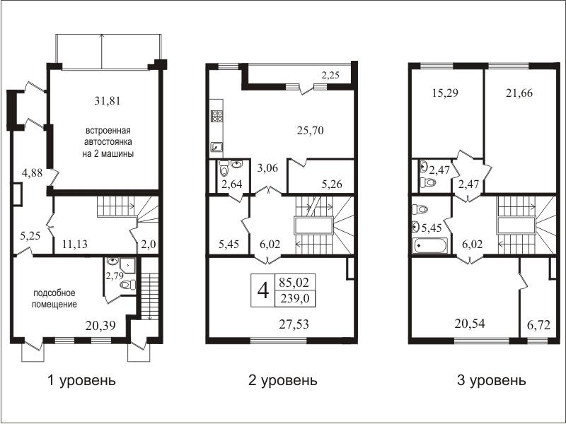 Планировка Четырёхкомнатная квартира площадью 239.4 кв.м в ЖК «Bagatelle»