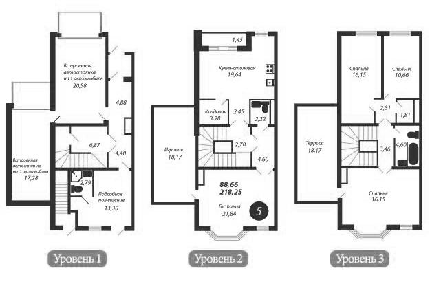 Планировка Пятикомнатная квартира площадью 218.1 кв.м в ЖК «Bagatelle»