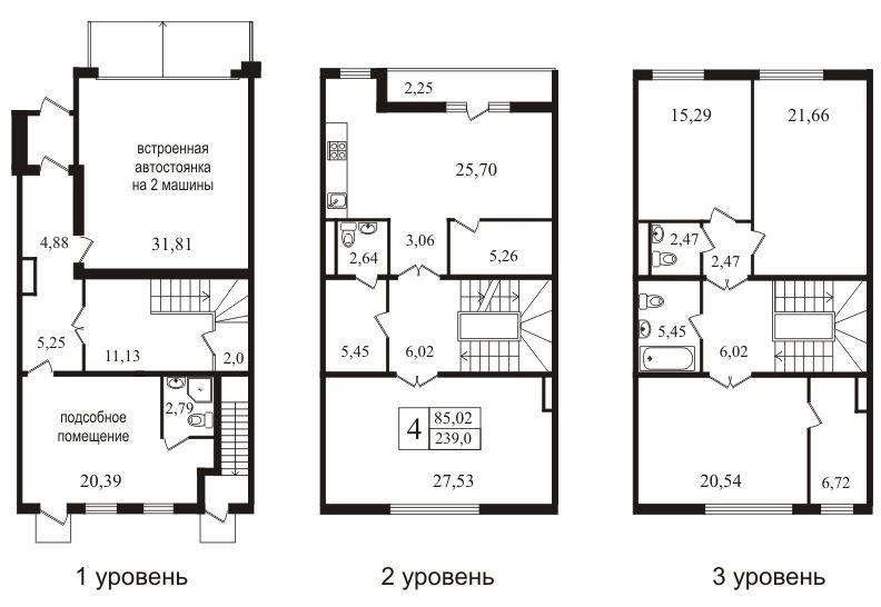 Планировка Шестикомнатные квартиры площадью 239.5 кв.м в ЖК «Bagatelle»